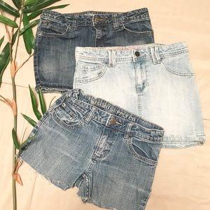 Girls Mossimo Jean Skirt Shorts Bundle Large